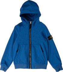 stone island blue hooded jacket