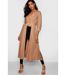 plunge neck split maxi shirt, stone