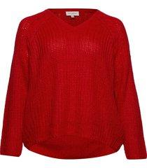 carhanne l/s o-neck pullover ess stickad tröja röd only carmakoma