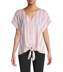 oxford stripe slub blouse