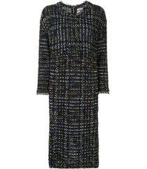 coohem vintage check tweed dress - blue
