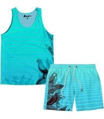 kit maravs regata verão + short moda praia passaro masculino - masculino