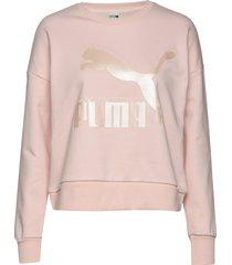 classics logo metallic crew sweat-shirt tröja rosa puma