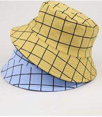 gorra de cubo con estampado de cuadros de estilo coreano para hombres