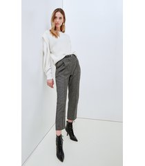 motivi pantaloni cropped in flanella donna marrone