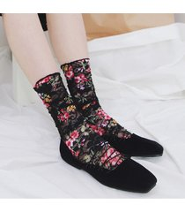 sottotuta traspirante sottile da donna estiva in cotone con motivo floreale piccolo calze