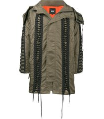 ktz lace-up hooded parka - green