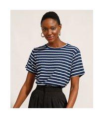 camiseta ampla listrada manga curta decote redondo mindset azul marinho