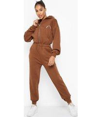 oversized geborduurde sweatstoffen jumpsuit met capuchon, chocolate