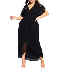 plus size women's city chic sequin bodice faux wrap maxi dress