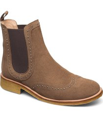 booties - flat - with elastic shoes chelsea boots brun angulus
