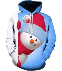 snowman 3d print kangaroo pocket christmas hoodie