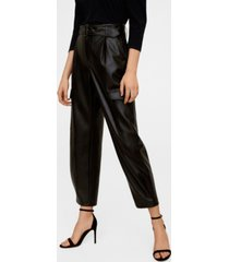 mango belted faux leather cargo pants