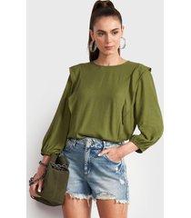 blusa colcci verde - calce holgado