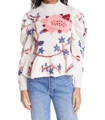 women's ulla johnson palma sweater, size petite/small - ivory