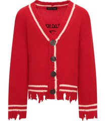 riccardo comi red cardigan with ivory details
