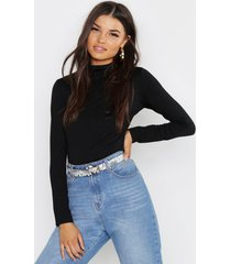 basic funnel neck long sleeve top, black
