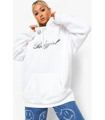 tall oversized babygirl hoodie met tekst, ecru