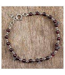 garnet charm bracelet, 'daisy dew' (india)