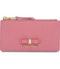 miu miu embellished bow wallet - pink