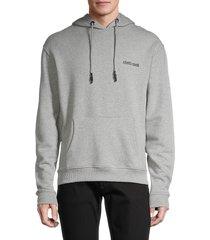 roberto cavalli men's logo-back hoodie - grey - size m