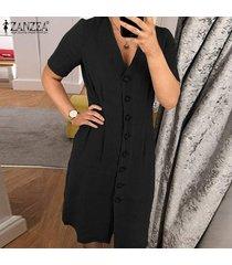 zanzea vestido de camisa básica de verano con cuello en v para mujer vestido de oficina para mujer -negro