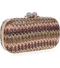bolsa clutch liage festa pedra cristal strass detalhe tricot metalizado alça removivel metal dourada  marrom - kanui