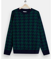 mens multi green and navy houndstooth sweater
