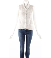 brunello cucinelli cream gray cashmere chunky knit sweater vest cream/gray sz: s
