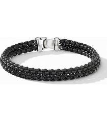david yurman woven box chain bracelet, size large in black/black at nordstrom