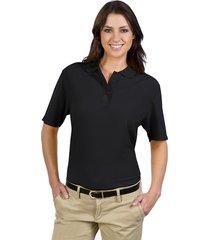 otto ladies' 5.6 oz. pique knit sport shirts black (l)