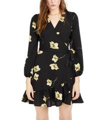 bar iii floral wrap mini dress, created for macy's