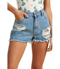 women's billabong x the salty blonde ripped denim cutoff shorts, size 24 - blue