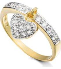 anel pingente de coracao semijoia banho de ouro 18k cravejado - feminino