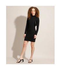 vestido básico curto manga longa gola alta preto