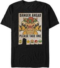 nintendo men's super mario bowser danger ahead short sleeve t-shirt