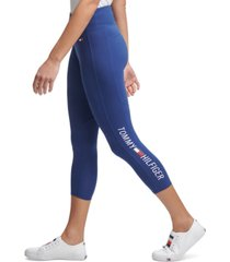tommy hilfiger sport logo high-waist cropped leggings