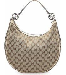 gucci nylon shoulder bag brown, black sz: m