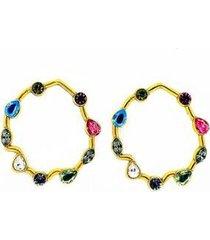 brinco armazem rr bijoux redondo cristais swarovski coloridos dourado - feminino