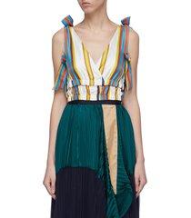 bow tiered hem stripe silk cropped top
