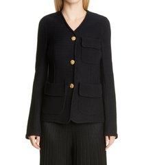 women's st. john collection moss stitch knit jacket