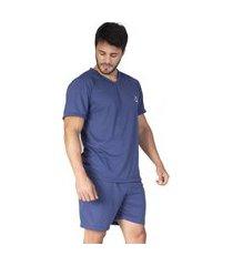 pijama bravaa modas manga curta 008 azul marinho