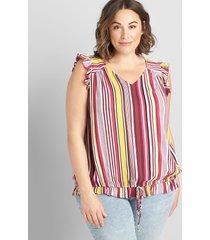 lane bryant women's sleeveless tie-hem top 38/40 multi stripe