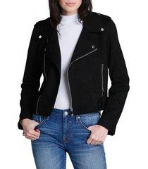 vigoss women's faux-suede moto jacket - black - size s