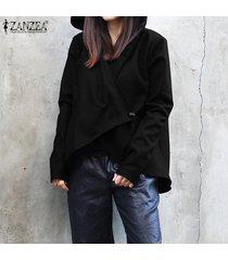 zanzea mujeres camiseta casual de manga larga capa de la chaqueta rompevientos trench coat tops -negro