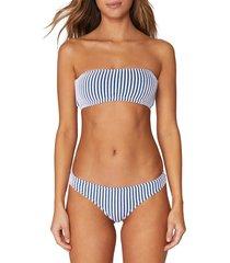 spiritual gangster women's striped bandeau bikini top - lemon sorbet - size m
