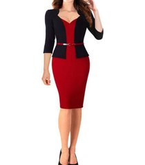euro color block v neck body-con pencil dress