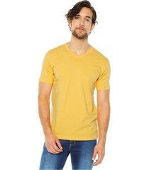 camiseta básica hombre amarillo ambar s5121