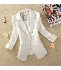 white women's one button slim casual business blazer suit jacket coat outwear