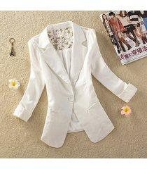 white women's one button slim casual business blazer suit jacket coat outwear